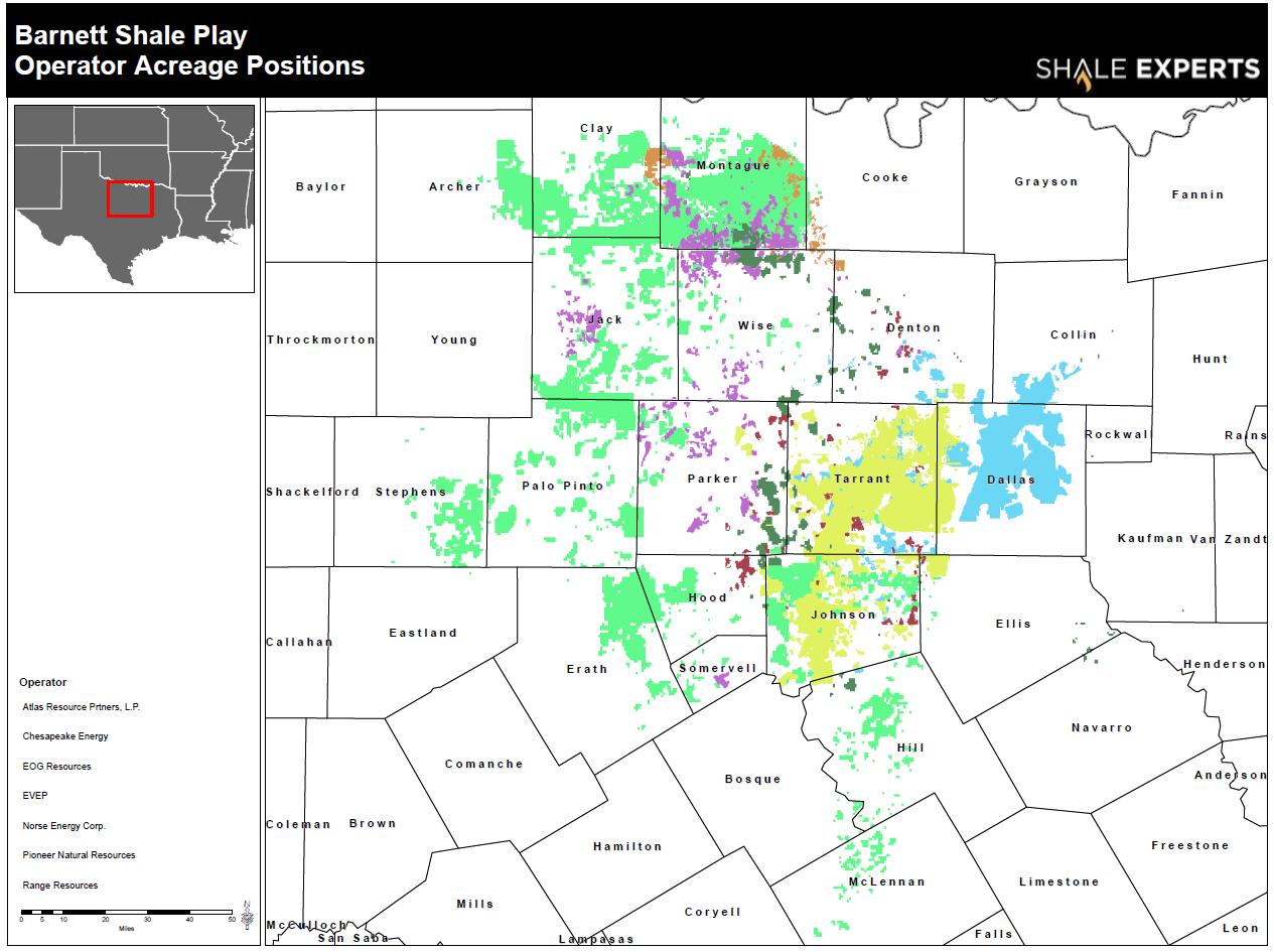Barnett Shale Map, acreage map, company map
