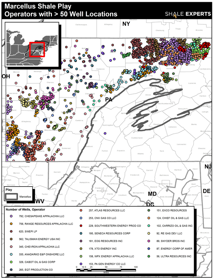 Marcellus Shale Map, acreage map, company map
