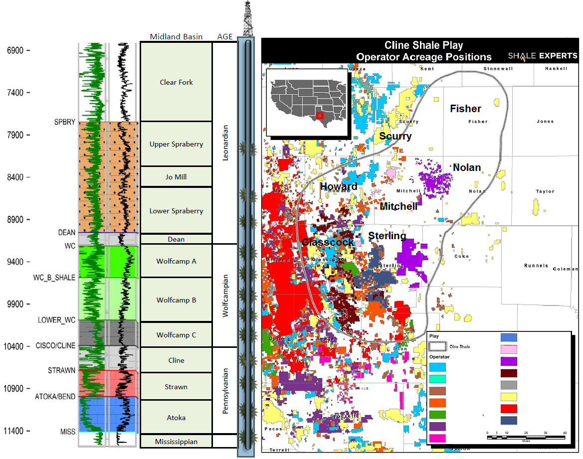 Cline Shale Map