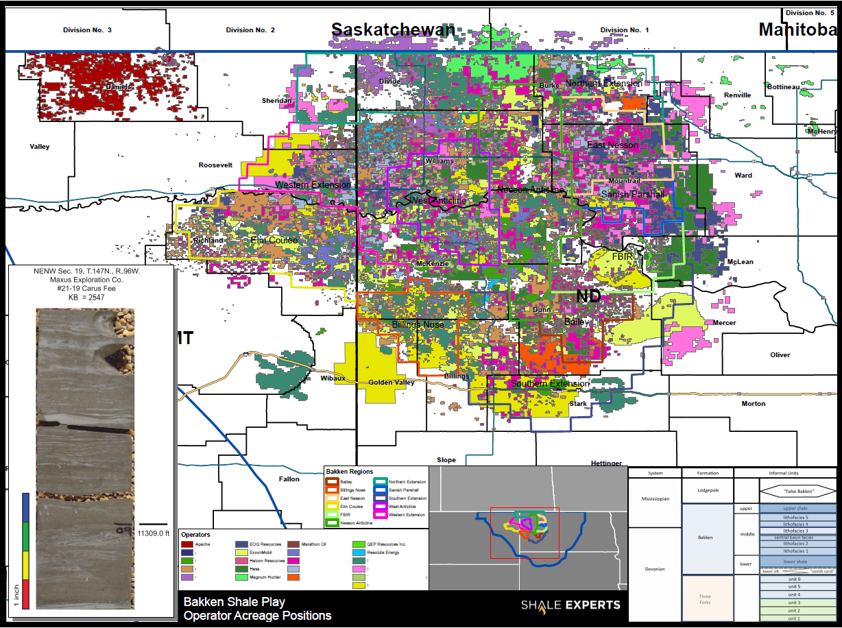 Bakken Shale Map - Leasehold