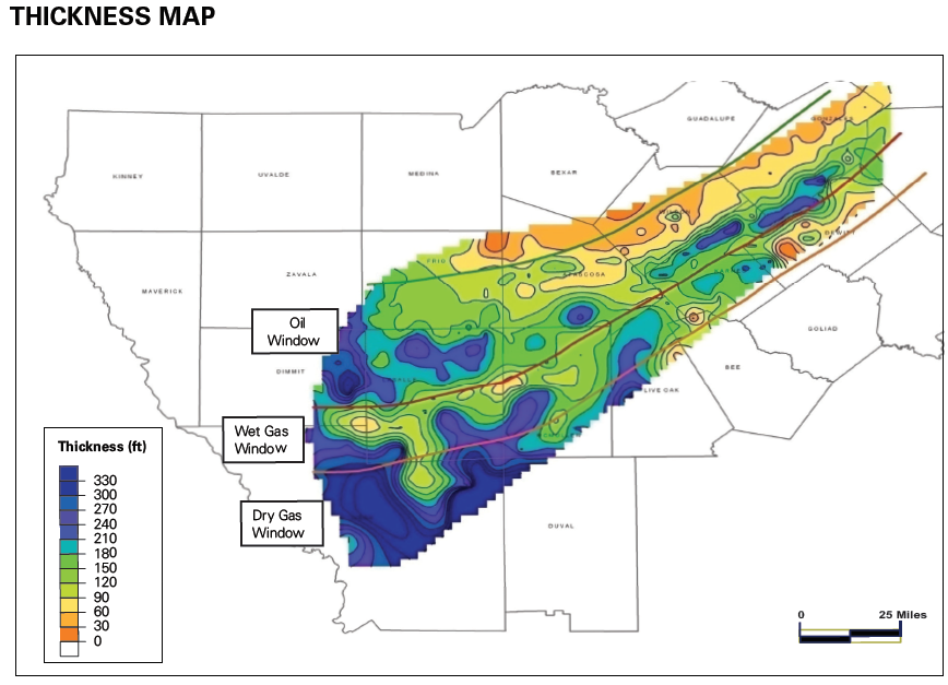 Eagle Ford Shale Thickness Map